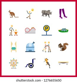 16 park icon. Vector illustration park set. kangaroo and ferris whell icons for park works