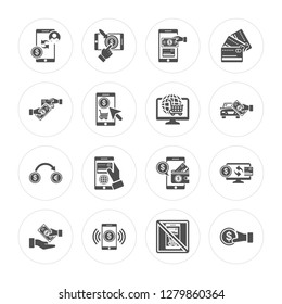 16 Payment method, Mobile money, Money transfer, Coin, Exchange, Online shop modern icons on round shapes, vector illustration, eps10, trendy icon set.