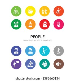 16 people vector icons set included man flying, man horseriding, man in hike, pointing, riding skateboarding, shooting, with beret, manager face, newborn, ninja face, old chinese icons