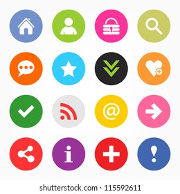 16 popular colors icon with basic sign. Simple circle shape internet button on gray background. This vector illustration web design elements saved 8 eps