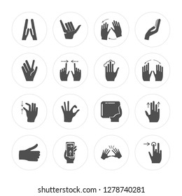 16 Prayer, Shaka, Smartphone, Thumb down, Drag, Tap, Vulcan salute, Pinch, Tap modern icons on round shapes, vector illustration, eps10, trendy icon set.