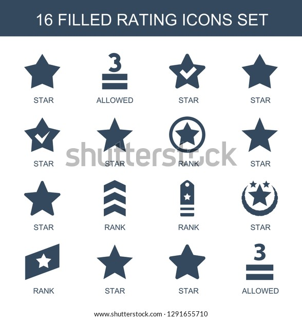 16 Rating Icons Trendy Rating Icons Stock Vector (Royalty