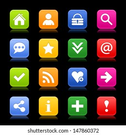 16 satin icon with basic sign set. Rounded square web internet button with color reflection. Green, orange, blue, yellow, red shapes on black background. Vector illustration design element 8 eps
