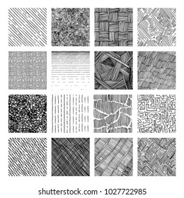 16 Seamless pattern of ink hand drawn grunge texture. Linear hatching, crosshatchin, stippling, scumbling and others. Vector illustration.