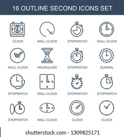 16 second icons. Trendy second icons white background. Included outline icons such as clock, wall clock, stopwatch, hourglass, sundial. second icon for web and mobile.