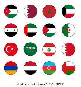 16 Selected Middle East and North Africa Flag Circle Icon Button Set including the Arabian Gulf, Morocco, Algeria, Turkey and Armenia.