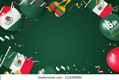16 September Mexico Happy Independence Day greeting card.  Festive frame flat lay.  Vector illustration