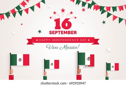 16 September. Mexico Happy Independence Day greeting card. Celebration background with bunting flags, mexican flags and text. Vector illustration