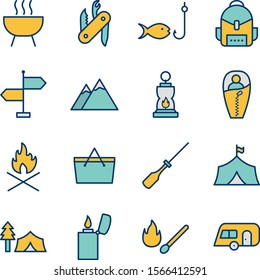 16 Set Of camping icons isolated on white background...