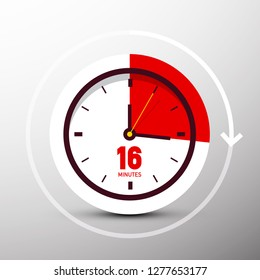 16 Sixteen Minutes Clock Icon. Vector Time Symbol.