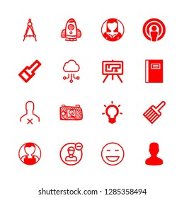 16 sketch icons with idea symbol of a lightbulb outline and blueprint in this set