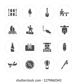 16 Skii, Fire, Compass, Canoe, Surf, Baseball, Boat, Bottle, Fishing modern icons on round shapes, vector illustration, eps10, trendy icon set.
