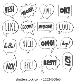 16 Speech bubbles flat style design set another shapes with text; love, yes, like, lol, cool, wow, boom, yes, omg... hand drawn comic cartoon style set vector illustration isolated on white background
