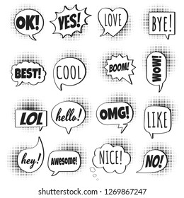 16 Speech bubbles flat style design set on halftone with text; love, yes, like, lol, cool, wow, boom, yes, omg... hand drawn comic cartoon style set vector illustration isolated on white background.