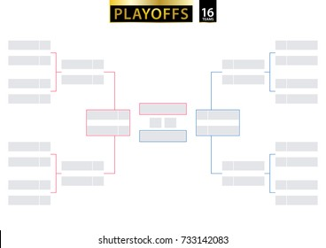 16 Team Single Elimination Bracket. Tournament Bracket for playoffs on white background. Size A2 ready for print. Vector Illustration.