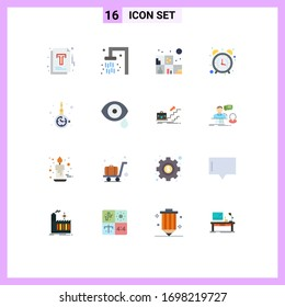 16 Thematic Vector Flat Colors and Editable Symbols of fashion; accessorize; living; office; clock Editable Pack of Creative Vector Design Elements