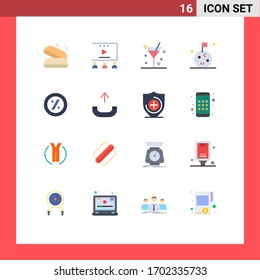 16 Thematic Vector Flat Colors and Editable Symbols of call; percent; cocktail; ecommerce; moon Editable Pack of Creative Vector Design Elements