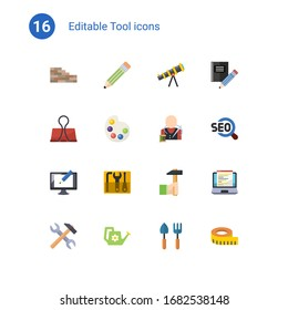 16 tool flat icons set isolated on . Icons set with brickwork, Pencil, telescope, Binder clip, Artists palette, tailor, Digital illustration, repair kit, Handicraft, tools icons.