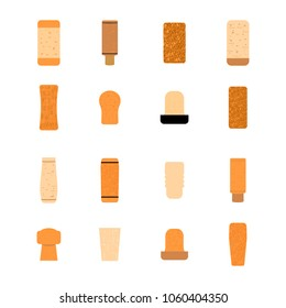 16 types of cork stoppers set isolated on white background. Vector collection