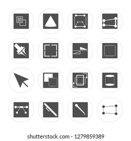 16 Ungroup, Cone, Pen, , Cylinder, Distort, Cursor, Flip modern icons on round shapes, vector illustration, eps10, trendy icon set.