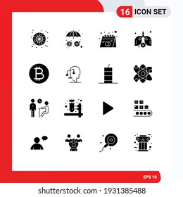 16 User Interface Solid Glyph Pack of modern Signs and Symbols of currency; waste; advertisement; pollution; product Editable Vector Design Elements