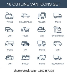 16 van icons. Trendy van icons white background. Included outline icons such as TV van, delivery car, trailer, truck, cargo truck. icon for web and mobile.