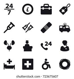 16 vector icon set : 24/7, info, hospital, first aid, invalid, lifebuoy