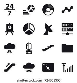 16 vector icon set : 24/7, diagram, circle diagram, graph, presentation, satellite antenna, server, cloud wireless, crystall  memory, stairs, escalator