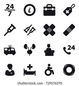16 vector icon set : 24/7, info, hospital, invalid, lifebuoy