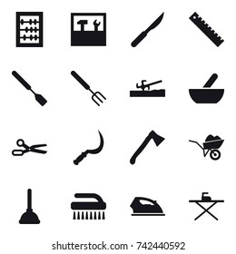 16 vector icon set : abacus, tools, ruler, spatula, big fork, soil cutter, mortar, scissors, sickle, axe, wheelbarrow, plunger, brush, iron, iron board