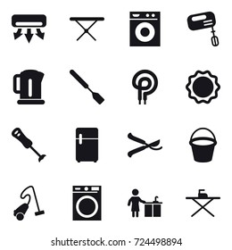 16 vector icon set : air conditioning, iron board, washing machine, mixer, kettle, spatula, pruner, bucket, vacuum cleaner, kitchen cleaning