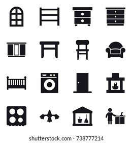 16 vector icon set : arch window, nightstand, chest of drawers, wardrobe, stool, chair, armchair, crib, washing machine, door, fireplace, hard reach place cleaning, utility room, kitchen cleaning
