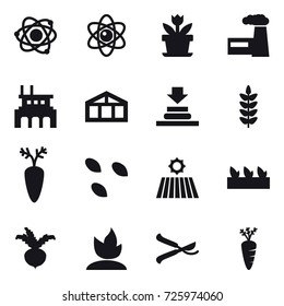 16 vector icon set : atom, flower, factory, greenhouse, seeds, field, seedling, beet, sprouting, pruner, carrot