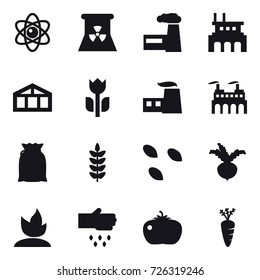 16 vector icon set : atom, nuclear power, factory, greenhouse, seeds, beet, sprouting, sow, tomato, carrot