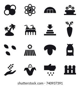 16 vector icon set : atom core, atom, hangare, flower bed, island, seeds, field, mushroom, flour, harvest, corn, sow, grain elevator