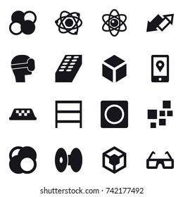 16 vector icon set : atom core, atom, up down arrow, virtual mask, brick, 3d, taxi, rack, ring button
