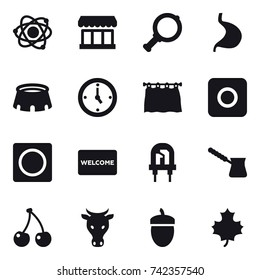 16 vector icon set : atom, market, magnifier, stadium, watch, curtain, ring button, welcome mat, turk, cherry, cow, acorn, maple leaf