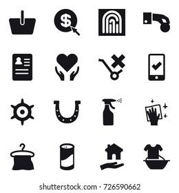 16 vector icon set : basket, dollar arrow, fingerprint, hand coin, mobile checking, handwheel, horseshoe, sprayer, wiping, hanger, cleanser powder, housing, handle washing