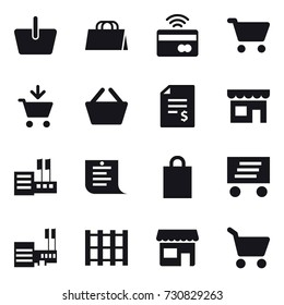 16 vector icon set : basket, shopping bag, tap to pay, cart, add to cart, account balance, shop, store, shopping list, delivery, mall