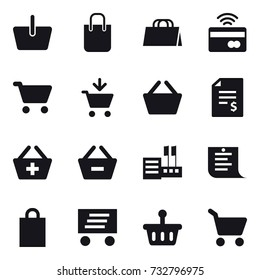 16 vector icon set : basket, shopping bag, tap to pay, cart, add to cart, account balance, add to basket, remove from basket, store, shopping list, delivery
