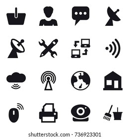 16 vector icon set : basket, woman, message, satellite antenna, pencil wrench, notebook connect, wireless, cloud wireless, antenna, earth, home, bucket and broom