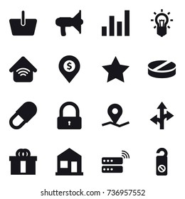 16 vector icon set : basket, loudspeaker, graph, bulb, wireless home, dollar pin, star, lock, home, do not distrub