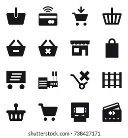 16 vector icon set : basket, tap to pay, add to cart, remove from basket, delete cart, shop, shopping bag, delivery, mall, atm, credit card