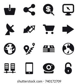 16 vector icon set : basket, share, dollar arrow, monitor arrow, satellite antenna, up down arrow, cart, right arrow, earth