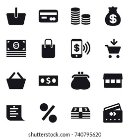 16 vector icon set : basket, card, coin stack, money bag, money, shopping bag, phone pay, add to cart, purse, market, shopping list, percent, credit card