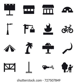 16 vector icon set : billboard, market, dome house, outdoor light, bike, tent, palm, restaurant, sickle, farm fence, rake, blower, garden cleaning