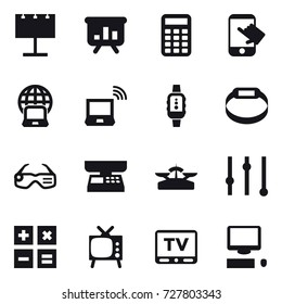 16 vector icon set : billboard, presentation, calculator, touch, notebook globe, notebook wireless, smartwatch, smart bracelet, smart glasses, market scales, scales, equalizer, tv
