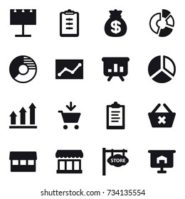 16 vector icon set : billboard, clipboard, money bag, circle diagram, statistic, presentation, diagram, graph up, add to cart, delete cart, market, store signboard