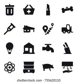 16 vector icon set : bin, add to basket, lipstick, bone, house with garage, air ballon, home, water tap, stands for knives, pig, hand dryer