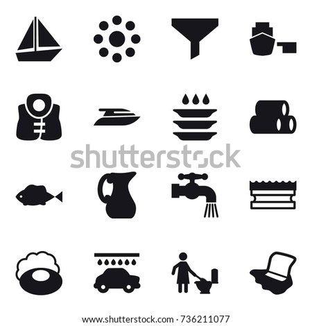 16 Vector Icon Set Boat Round Stock Vector (Royalty Free